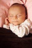 Retrato recién nacido el dormir del bebé Imagenes de archivo