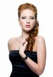 Retrato red-haired bonito da mulher imagens de stock royalty free