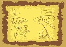 Retrato retro abstrato do homem e da mulher Imagem de Stock