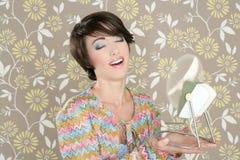 Retrato retro da mulher do vintage do ventilador 60s do ar Imagens de Stock