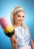 Retrato retro del ama de casa divertida Imagen de archivo libre de regalías