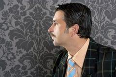 Retrato retro del perfil del hombre de negocios de la vendimia del empollón Fotografía de archivo libre de regalías