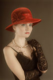 Retrato retro del renacimiento de la mujer. Foto de archivo