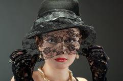 Retrato retro del renacimiento de la mujer. Imagen de archivo libre de regalías