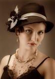 Retrato retro del renacimiento de la mujer Fotos de archivo
