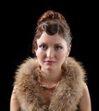 Retrato retro do renascimento da mulher. Foto de Stock Royalty Free