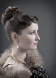 Retrato retro do renascimento da mulher. Foto de Stock
