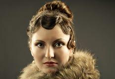 Retrato retro do renascimento da mulher Imagens de Stock
