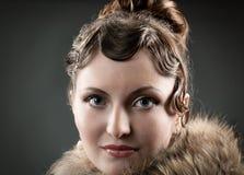 Retrato retro do renascimento da mulher. Fotografia de Stock