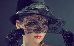 Retrato retro do renascimento da mulher Imagem de Stock