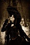 retrato Retro-labrado de una muchacha con el paraguas fotografía de archivo