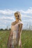 Retrato romántico del blonde bohemio en el campo de la hierba Foto de archivo libre de regalías