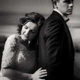 Retrato romântico preto e branco da noiva encantador macia que inclina-se na parte de trás de seu amante considerável Fotografia de Stock