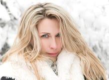Retrato rubio de la mujer del pelo largo hermoso, invierno, fondo nevado de los árboles imagenes de archivo