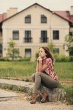 Retrato rubio hermoso de la muchacha Imagenes de archivo
