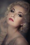 Retrato rubio hermoso de la mujer Fotografía de archivo