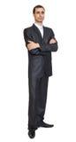 Retrato sério do homem no terno no branco Fotografia de Stock