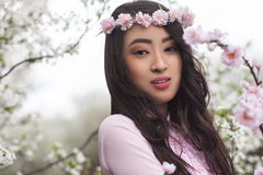 Retrato sensual de una muchacha vietnamita hermosa Fotografía de archivo libre de regalías
