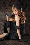 Retrato sensual do estilo retro Fotografia de Stock Royalty Free
