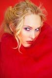 Retrato sensual na matéria têxtil vermelha Foto de Stock