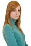 Retrato serio de la mujer del redhead Foto de archivo