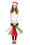 Retrato shoppping de la mujer de la Navidad integral Imágenes de archivo libres de regalías