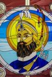 Retrato sikh do guru no vitral no templo sikh foto de stock