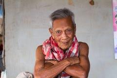 Retrato sincero viejo asiático del hombre mayor Imagen de archivo libre de regalías