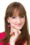 Retrato sonriente cómodo de la mujer joven Foto de archivo libre de regalías