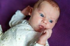 Retrato suave del bebé infantil recién nacido dulce pacífico que miente en cama mientras que duerme en manta púrpura imagen de archivo libre de regalías