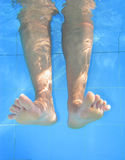 Retrato subaquático dos pés no swimmingpool. imagens de stock royalty free