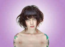 Retrato Tattooed da menina Imagens de Stock Royalty Free