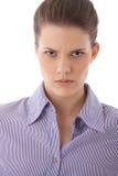 Retrato terminante enojado de la mujer imagen de archivo libre de regalías