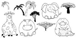 Retrato tirado m?o do animais gordos engra?ados bonitos Grupo de objetos isolados no fundo branco Ilustra??o do vetor com girafa, ilustração stock