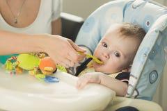 Retrato tonificado da mãe que alimenta lhe 9 meses de filho idoso com colher Imagem de Stock