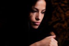 Retrato triguenho bonito da mulher   fotografia de stock royalty free