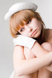 Retrato triste da menina fotografia de stock