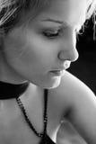 Retrato triste del BW de la mujer Fotografía de archivo