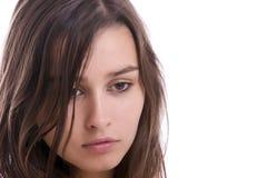 Retrato triste joven de la muchacha Imagenes de archivo