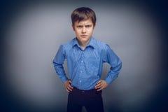Retrato un pelo marrón que frunce el ceño del adolescente de Fotografía de archivo libre de regalías