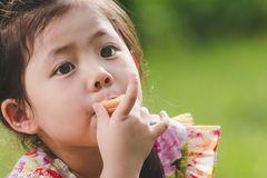 Retrato una pequeña muchacha asiática linda que come la galleta en la naturaleza verde Imagen de archivo libre de regalías