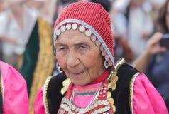 Retrato velho da mulher do mongolian Fotos de Stock