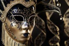 Retrato veneciano de la máscara del oro negro Foto de archivo