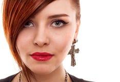 Retrato vermelho atrativo do estilo da mulher do cabelo Imagens de Stock
