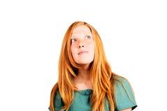 retrato Vermelho-de cabelo da mulher Fotografia de Stock