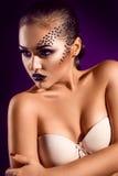 Retrato vertical da menina adulta sensual com os diamantes na cara dentro Imagem de Stock