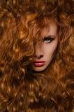 Retrato vertical de la mujer con el pelo rojo Imagen de archivo