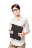 Retrato vertical de uma mulher de negócio das pessoas de 25 anos Fotos de Stock
