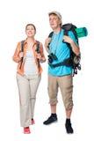 Retrato vertical do comprimento completo de turistas felizes com Fotos de Stock