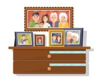 Retratos da família dos desenhos animados no vestuário Imagem de Stock
